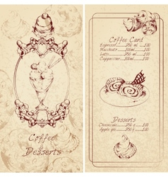 Desserts menu template vector