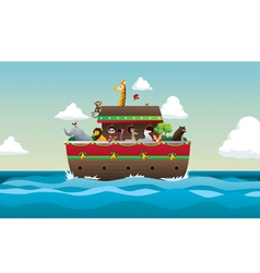 Noah ark with animals in sea and sky vector