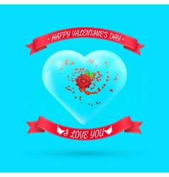 Valentines day background with flower within glass vector