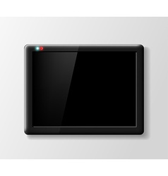 Black digital tablet on a gray background vector