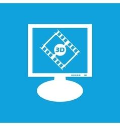 3d movie monitor icon vector