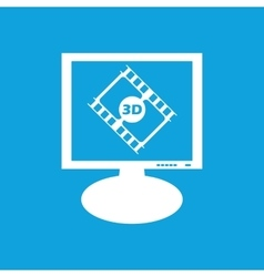 3d movie monitor icon vector