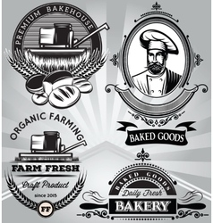 Set of emblems on the subject baking with the vector