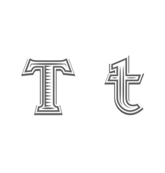 Font tattoo engraving letter t vector