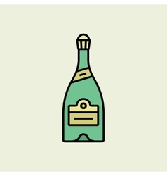 Christmas champagne bottle icon vector