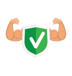 Accept green shield icon vector
