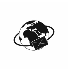Earth with envelope icon simple style vector