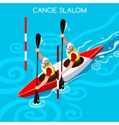 Kayak slalom double 2016 summer games isometric 3d vector