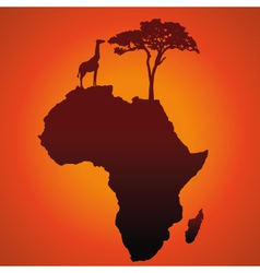 African safari map silhouette background vector