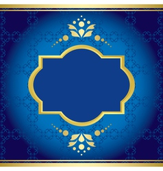 blue elegant card with golden decor vector image