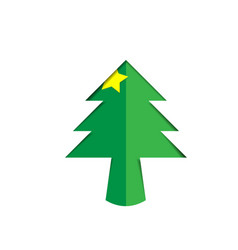Christmas tree green paper cutout with star vector