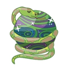 colored snake on magic ball vector image vector image
