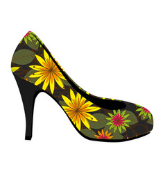 colorful silhouette of high heel shoe with floral vector image vector image