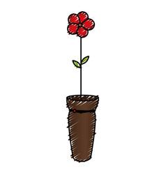 Cute flower in vase icon vector