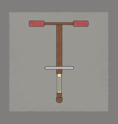 Flat shading style icon kids pogo stick vector