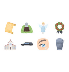 Funeral ceremony icons in set collection for vector