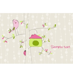 Greeting card with bird house vector