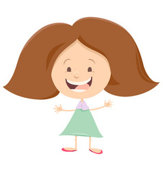 Happy girl cartoon character vector