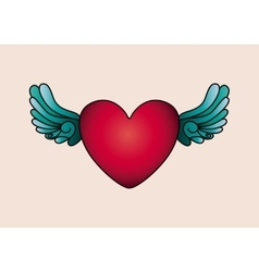 Heart and wings tattoo isolated icon design vector