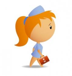 Little cute nurse with case vector