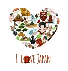 Love japan poster vector