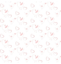 Pastel pink bird seamless pattern for kids and vector