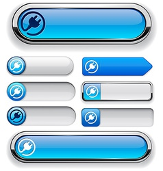 Plug high-detailed modern buttons vector