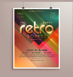 retro music party event flyer invitation template vector image vector image