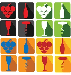 set of wine icons vector image
