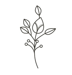 Silhouette ramifications flower with stem and vector