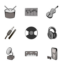 Singing icons set gray monochrome style vector