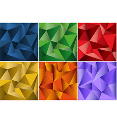 Six seamless background design with triangle vector
