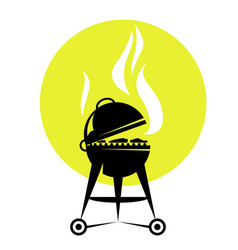 Smoking barbecue grill roaster - bbq party poster vector