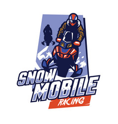 Snowmobile racing badge design vector