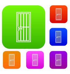 Steel door set collection vector