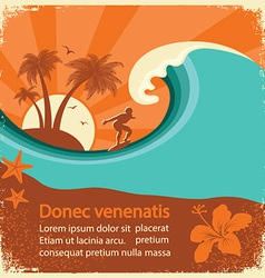 Surfer and sea wave on old poster vector image