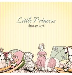 Vintage toys shop leaflet vector image