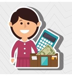 Woman calculator wallet money vector
