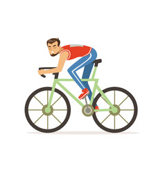 Young cyclist man take part in bicycle racing vector