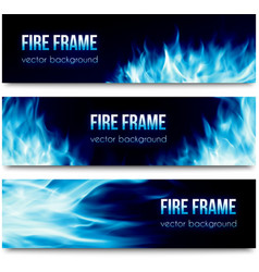 Abstract banners set with blue fire flames vector