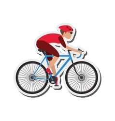 Person riding bike with helmet icon vector