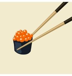 Chopsticks holding roll frame concept vector