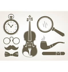 Retro detective accessories vector