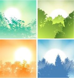Four sunrises above trees vector