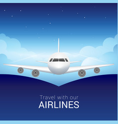 Passenger airplane in the sky clouds safe flight vector