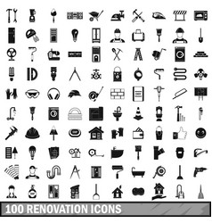 100 renovation icons set in simple style vector