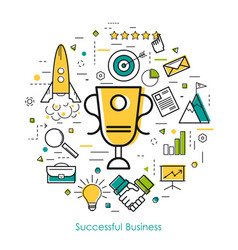 line art concept - successful business vector image