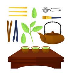 flat chinese tea elements set vector image