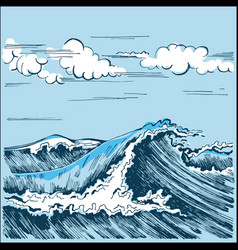 sea wave landscape stylized graphics vector image