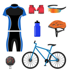 Set of bicycling icons vector